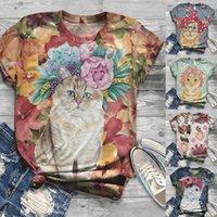 Women's T-Shirt Women T-shirts Cute Cat Print Summer Fashion Short Sleeve O-neck Printing Tshirt 2021 Casual Ladies Tee Shirt Tops Clothes