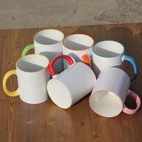 1 adet Seramik Boş Süblimasyon Kupa Isı Transferi MDF Kolu Kupalar Kişilik DIY Basit Kahve Fincanı Hediye Malzemeleri