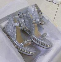 Sandalias famosas de mujeres !! Comfort Red Bottm Pyraclou Shoes Zapatos Alpargatas Cataclou Tacones Altos Tacones Verano Gladiador Sandalias
