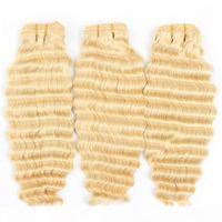 الهندي الخام عذراء الشعر 3 حزم مع 13x4 الرباط أمامي شقراء موجة عميقة مجعد 613 لون منتجات جديدة مع الطفل الشعر الأذن إلى الأذن الرباط أمامي