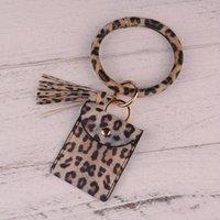 Keychains 2021 Keychain Card Bag Leopard Snake Wallet PU Leather Tassel Fashion Bracelet For Women Men Jewelry