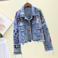 Women's Jackets Fashion Clothing Denim Jacket Female Blue Rivet Graffiti Printi Coat Single-Breasted Women Jeans
