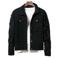 Luxusmänner Designer Jacke Männer Womens Hohe Qualität zerrissene Löcher Denim-Jacke Cowboy Mantel Frauen Tops Schwarz Rot Jean Jacken Größe M-5XL