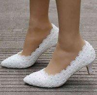 Dress Shoes Sapatos de salto com renda branca princesa rainha cristal, sapatos 5cm grosso para gatinhos e festa aniversário, 4XSR