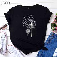 JCGO Summer Women T Shirt Cotton Plus Size 5xL manica corta Dargefy Dandelion Stampa femminile allentato casual T-shirt grande T-shirt Top Tees 210322