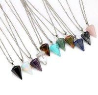 Natural Gemstone Pendant Necklace Crystal Healing Chakra Reiki Silver Stone Hexagonal Prisme Cone Pendulum Charm Necklaces