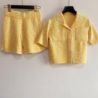 Nakliye Ücretsiz 2021 Sonbahar Sarı / Mavi / Haki Mektup Nakış kadın İki Adet Setleri Marka Aynı Stil Iki Parçalı Elbise DH139