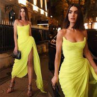 간단한 칼집 노란 이브닝 드레스 긴 댄스 인 가운 측면 슬릿 주름기 쉬폰 여성 이브닝 드레스