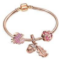 Fashion luxury diamond crystal DIY European glass beads lovely leaf charm designer rose gold bangle bracelet for woman girls