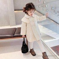 2021 Niñas de invierno Polka Dots Woolen Abrigo Niños Mantón Solapa Manga larga Outwear Outwear Children Flowen Princess Trench Abrigos Q1021