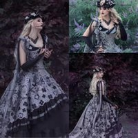 Vintage Gothic Black Wedding Dresses Bridal Gown Sleeveless with Lace Applique Beaded Scoop Neck Custom Made Plus Size Sweep Train Tulle A Line vestido de novia