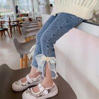 Elastic Waist Jeans For Girls Gauze Bow-knot Wholesale Clothing Pants Mesh Flower Kids Blue Split Trousers Korean