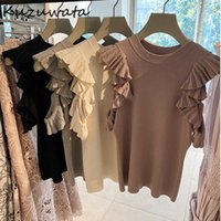 KUZUWATA Japon Tatlı Gömlek Örme Katı Kapalı Omuz Ruffles Kıvrımlar Bluzlar İlkbahar Sonbahar Mizaç Kadınlar Tops 210805