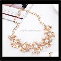 Европа модная вечеринка повседневная ювелирные изделия женские искусственные жемчужные горный хрусталь листья ожерелья с S97 1Sun3 ожерелье NDNKZ