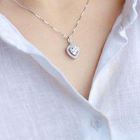 Collana del ciondolo del cuore di amore del cristallo coreano per le donne Argento Color Box Catena Gioielli Cute Cubic Zirconia Regalo Collane
