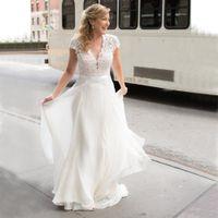 Chiffon A Line Wedding Dresses V Neck Lace Short Sleeves Bridal Gowns Buttons Back Summer Vestidos De Fiesta