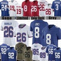 "Daniel Jones Ny 26 Saquon Barkley Fotboll Jersey Kenny Golladay Lawrence Taylor Lawrence Taylor James Bradberry Michael Strahan York ""Giants"" Toney Ojulari"
