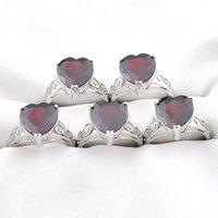 Mescolare 5 pezzi anelli luckyshine lucentezza cuore taglio rosso naturale granato gemma gemma 925 anello in argento USA taglia 7 8 9