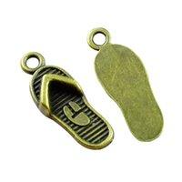 50pcs Charms slipper flip flops 21x8mm Antique Making pendant fit,Vintage Bronze Color,DIY bracelet necklace