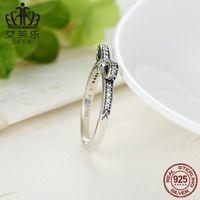 Bamoer Hot 925 Sterling Silber Funkelnder Bogen Knot Stapelbarer Ring Micro Pave CZ Für Frauen Valentinstag Geschenk Schmuck PA7104 2032 Q2