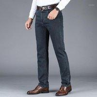 Hohe Qualität Stretch Herren Jeans Hosen Business Casual Lose Gerade Hohe Taille Klassische Arbeitskleidung Mode Große Größe1