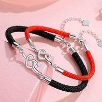 Charm Bracelets Couple Bracelet Leather Love Heart Bangle Jewellery Fashion Silver Plated Womens Men's Gift