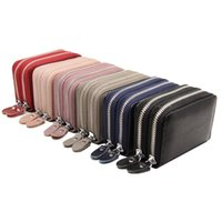 Card Holders Double Zipper Genuine Leather Holder Designer Coin Purse Lichee Unisex Driver License Money Bag RFID Package Wallet