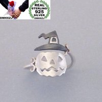 Cluster Rings OMHXZJ Wholesale European Fashion Woman Man Party Wedding Gift Silver Pumpkin Hat Open 925 Sterling Ring RR268