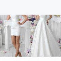 Romantic White Two Pieces A Line Lace Wedding Dresses 2020 with Detachable Skirt Vestidos De Noiva Spring Crew Neck Short Dance Bridal Gowns