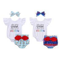Clothing Sets 0-18M Cute Infant Baby Girl Sleeve Letter Print Romper Top+Bow Cartoon Rainbow Triangle Shorts+Headband