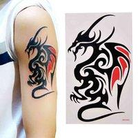호랑이 드래곤 늑대 짐승 바디 아트 임시 Tatoo 여성용 남자 문신 방수 스티커 쿨 피부 장식 큰 문신