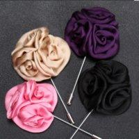 Flower ball Brooch Lapel Pins handmade Boutonniere Stick with Artificial Silk Flower for Gentleman suit wear Men Accessories 1131 T2