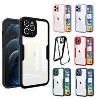 Full Coverage Clear Acrylic Phone Cases For iPhone 12 11 Pro Max XR XS X 7 8 Plus Mini Transparent Shockproof TPU PET Protective Film Hybrid Armor Hard Cover