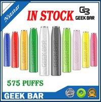 긱 바 전자 담배 스타터 키트 일회용 vape 펜 575 퍼프 15 색 2.4 ml 사전 채워진 500mAh 배터리 증기 도매