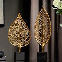 Nordic Iron Art Art Golden Foglia ornamenti Artigianato Moderna Decorazioni per la casa Soggiorno Armadio per vino Portico Desktop Decoration Ornaments