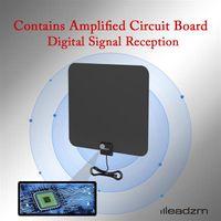 Leadzm TA-105 داخلي التلفزيون الرقمي HDTV هوائي مكبر للصوت UHF / VHF / 1080P 4K الأسود