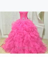 2021 New Quinceanera Dresses Ball Gowns With Organza Tiered Ruffles Beading Sweet 15 Dresses Prom Quinceanera Gowns Stock