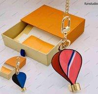 الهواء الساخن بالون المفاتيح للجنسين الأزياء مصمم الجلود الحلي حقيبة يد لطيف الحقائب اليدوية سيارة مفتاح سلسلة قلادة مشبك مع مربع