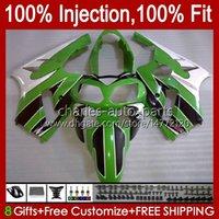 Injection mold Bodys For KAWASAKI NINJA ZX-12R ZX1200 C ZX 12 R 1200 CC ZX12R 00 01 Bodywork 2No.53 ZX 1200 12R 1200CC 00-01 ZX1200C 2000 2001 OEM Fairing Kit glossy green