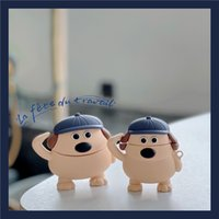 3D Earphone Cases Cute Cartoon Salute Hat Dog Wireless Charging Soft Case for Apple AirPods 2 1 Bluetooth Headset Protective Cover Gift for Airpod Pro 3
