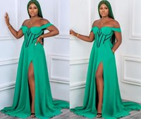 2021 Plus Size Arabic Aso Ebi Stylish Sexy Green Prom Dresses High Split Satin Simple Evening Formal Party Second Reception Gowns Dress ZJ203