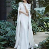 Elegant Arabic Dubai Ivory Mermaid Formal Evening Dresses Cape Long Sleeves Crystals Beaded Muslim Special Occasion Dress Jewel Neck Prom Gowns 2022