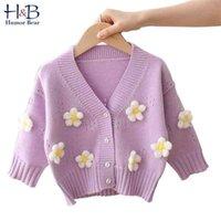 유머 곰 소녀 아기 키즈 스웨터 가을 겨울 긴 소매 니트 재킷 카디건 어린이 꽃 코트 outwear 의류 1-5Y 210806