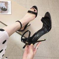 Sandals Stiletto Heels Fashion Womens Shoes 2021 Suit Female Beige Buckle Strap Luxury Girls Black Closed Summer Leather Com