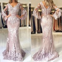 Formal Women's Dress Pastel Mother's Modern Lace Mermaid Prom Dresses V Neck Long Sleeves Elegant Evening Wear vestidos