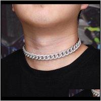 Chaîne de luxe bijoux de bijoux de bijoux Glafe Out Cuban Link Hip Bling Bling Diamond Collier Déclaration Cubic Zircone Mode WCD1C JigQ6