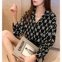 Women's Blouses & Shirts Female M-4XL Loose chiffon Korean style shirt letter printing for women Spring fall lady with cleavage v office s F7DY