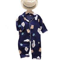Pijama Çocuk Erkek Kız Setleri Sonbahar Kış Baskı Uzun Kollu Tops + Pantolon 2 Adet İpek Pijama Bebek Çocuk Gecelik HomeWear