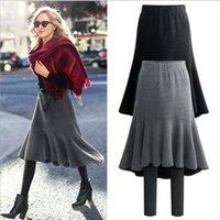 Plus Size 6xl Fashion Autumn Womens Legging Amp Winter Warm Thick Velvet Fake Two Pieces Trumpet Skirt Pants