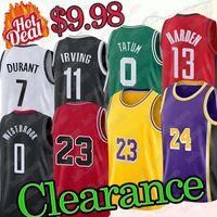 Los 23 Angeles Basketbol Formalar 7 Durant 11 Irving 13 Sertleştirilmiş Basketbol Forması 3 Wade 22 Butler 0 Westbrook 0 Tatum 23 Basketbol